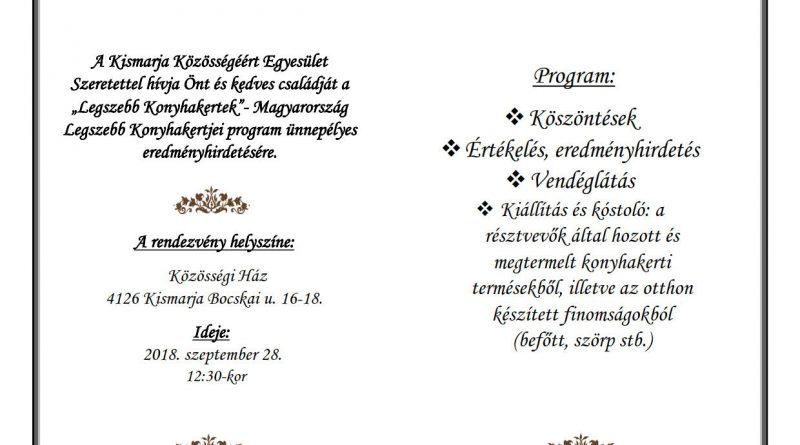 """Kismarja – """"A legszebb konyhakertek"""" program eredményhirdetése  2018. szeptember 28."""