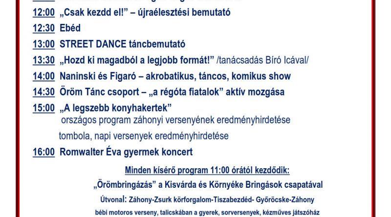 """Záhony – """"A legszebb konyhakertek"""" program eredményhirdetése 2018. szeptember 29."""