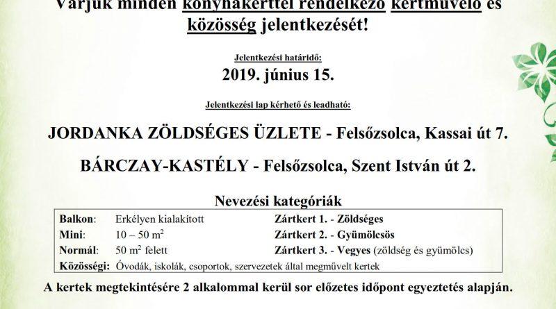 """Felsőzsolca Város Önkormányzata meghirdeti """"A legszebb konyhakertek"""" programot"""