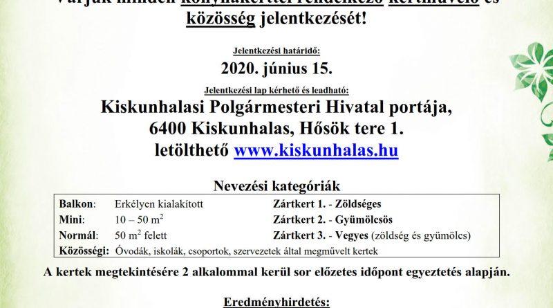 """Kiskunhalas – """"A legszebb konyhakertek"""" program 2020-ban is"""