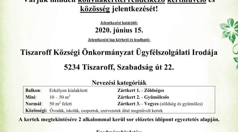 """Tiszaroff – Meghirdeti """"A legszebb konyhakertek"""" programot"""