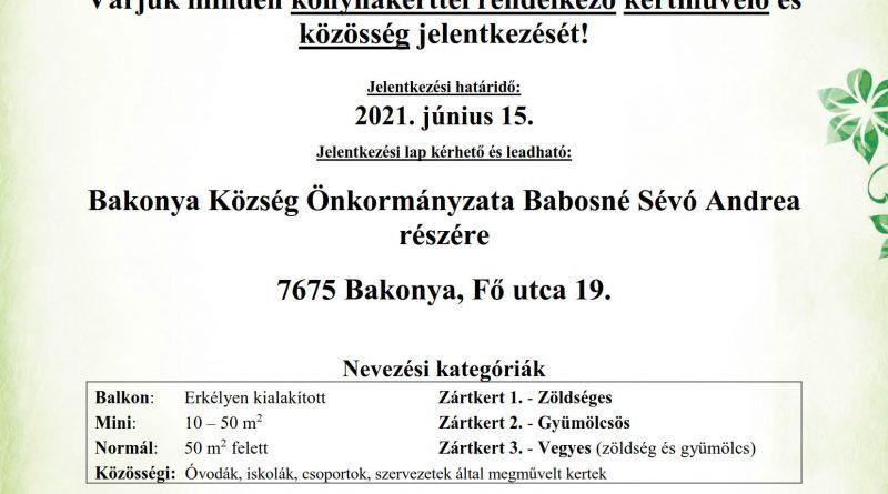 """Bakonya – """"A legszebb konyhakertek"""" program meghirdetése"""