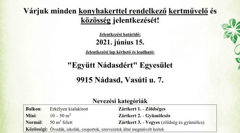 """Nádasd – """"A legszebb konyhakertek"""" – Magyarország legszebb konyhakertjei országos program"""