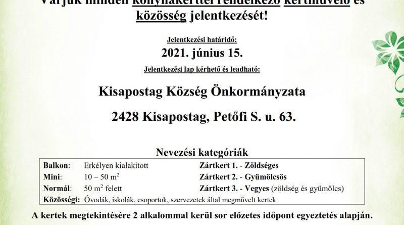 """Kisapostag – """"A legszebb konyhakertek"""" program 2021"""