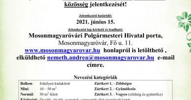 """Mosonmagyaróvár – Mosonmagyaróvár Város Önkormányzata meghirdeti """"A legszebb konyhakertek"""" programot Várjuk"""
