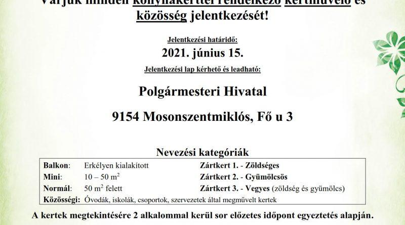 Mosonszentmiklós – A legszebb konyhakertek Magyarország legszebb konyhakertjei Magyar Örökség díjas országos program